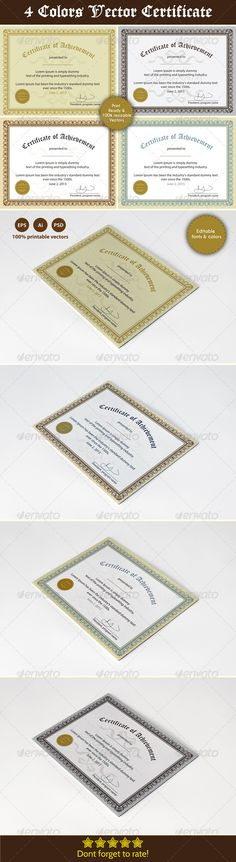 Achievement Certificate Template PSD, Vector EPS, Vector AI. Download here: http://graphicriver.net/item/achievement-certificates/5089179?s_rank=38&ref=yinkira