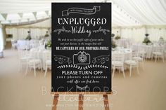 """I like what it says   INSTANT DOWNLOAD - Unplugged Wedding Sign 20""""x30"""" by BackdropsEtc on Etsy https://www.etsy.com/listing/254485438/instant-download-unplugged-wedding-sign"""