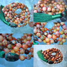 Chalcedony Faceted Natural Rainbow Agate Buddhist Mala Beads  Protection from Bad Dreams, Stress, Energy drains, Gyneo problems, Pregnancy