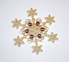 Quilled Snowflake Ornament Gold with Crimson by CreationsFromAlice