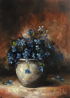 Blue Arrangement Still Life Original Oil Painting Nina R.Aide Floral Small Painting Canvas 7x5 Fine Art Chiaroscuro by NinaRAideStudio on Etsy M52LK04GBA2