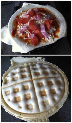 Saviez-vous que l'on peut préparer des pizzas recouvertes avec un gaufrier ?