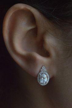 Art Deco Bridal Earrings - Oval Cubic Zirconia CZ Studs - Sterling Earrings - Wedding Jewelry - Bridal Wedding Studs