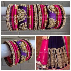 Purple Pink and Gold Silk Thread Bangles Set of 18 Ethnic Silk Thread Bangles Design, Silk Bangles, Silk Thread Earrings, Bridal Bangles, Thread Bracelets, Thread Jewellery, Diy Earrings Easy, Unique Earrings, Bangles Making