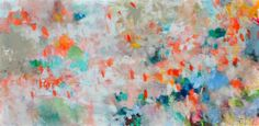 """Honeysuckle Morning 36x72"""" abstract floral painting on canvas by Kerri Blackman"""