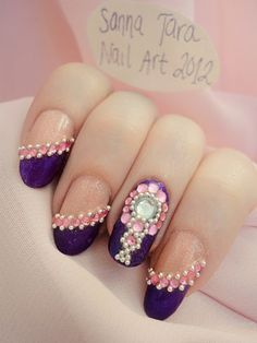 Ida-Marian kynnet / Competition nails with rhinestones and micro pearls / #Nails #Nailart