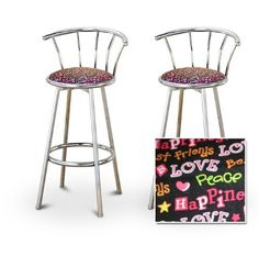 "2 Love Peace Happiness Custom Chrome Barstools with Backrest Set [Kitchen] by The Furniture Cove. $145.87. 29"" Seat Height. Swivel Seat. Chrome Finish. Love, Peace & Happiness theme. These are new, 29"" chrome bar stools with footrests and swivel seats with a backrest! These have a love, peace and happiness themed seat cushion that are cool and unique. The pads are 14"" across and the seat is 29"" tall. The entire height is 39"". The sides of the seat have nice metal work and the..."