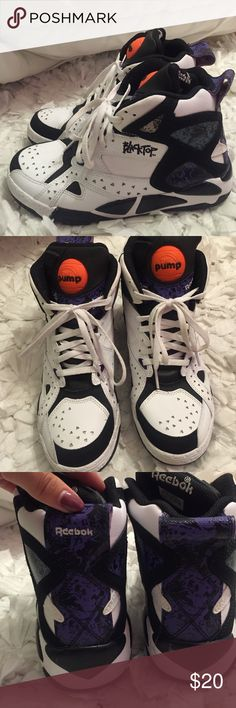 Reebok Pump Sneakers Rare reebok hightop pump sneakers! They are black and white with purple/green accents and an Orange pump on the tongue. Super cute with leggings. These are a kids 4 but fit like a 5.5 women's. Reebok Shoes Sneakers