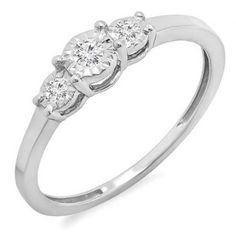 0.20 Carat (ctw) Sterling Silver Round Diamond Ladies 3 Stone Engagement Promise Ring 1/5 CT (Size 5.5) * Additional details found at the image link  : Engagement Ring