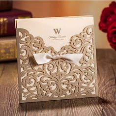 Graceful Metallic Brown Laser Cut Ribbon Wedding Invitations Ewws028