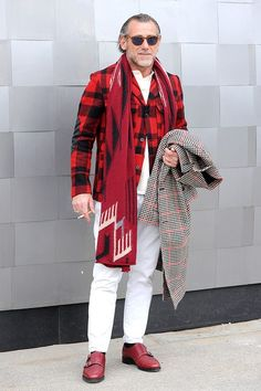 Reach for a black and white gingham overcoat and white chinos to create a dressy but not too dressy look. Channel your inner Ryan Gosling and grab a pair of burgundy leather double monks to class up your look. Shop this look for $141: http://lookastic.com/men/looks/sunglasses-scarf-double-monks-chinos-overcoat-polo-blazer/4694 — Black Sunglasses — Red Scarf — Burgundy Leather Double Monks — White Chinos — Black and White Gingham Overcoat — White Polo — Red and Black Plaid Wool ...