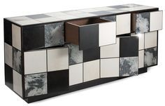 Modern sideboard ideas | Contemporary sideboard | marble, white and black squared sideboard |www.bocadolobo.com #modernsideboard #sideboardideas