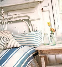 junk style retro vintage bedroom striped duvet pillows.jpg