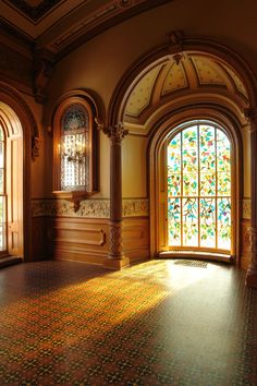 """Model Reference: """"Howard H. Hale added stained glass windows per his wife's request all throughout the vast home. Beautiful Architecture, Architecture Details, Interior Architecture, Interior Design, Beautiful Interiors, Beautiful Homes, Beautiful Places, Victorian Interiors, Victorian Homes"""