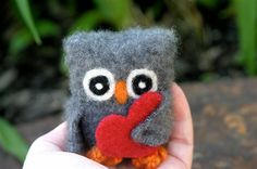 Uber soft Cash the baby Owl with red heart ... dark gray cashmere eco wool felted owl (woolcrazy). via Etsy.