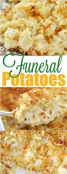 Funeral Potatoes recipe from The Country Cook. These are my absolute favorite! Funeral Potatoes are creamy, cheesy potatoes with a crunchy, buttery topping. They are comfort food to the max that everyone loves! Think Food, I Love Food, Potato Dishes, Food Dishes, Potato Soup, Potato Salad, Vegetable Side Dishes, Vegetable Recipes, Veggie Food