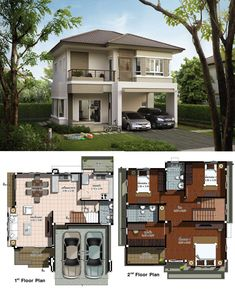 Two Design Choices: Two Storey Home Plans - Ulric Home Two Storey House Plans, 2 Storey House Design, House Layout Plans, Dream House Plans, House Layouts, House Floor Plans, Simple House Design, House Front Design, Modern House Design