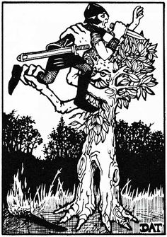 Treant wishes you had nof started a fire. (Dave Trampier from the AD&D Monster Manual, TSR, 1977.)