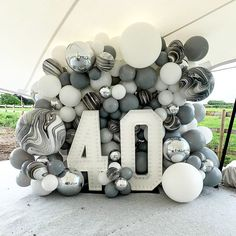 Balloons and light up numbers Birthday Party Decorations For Adults, Silver Party Decorations, Balloon Decorations Party, 40th Birthday Parties, 50th Birthday Party, Birthday Balloons, Balloon Wall, Balloon Garland, Boys 18th Birthday Cake