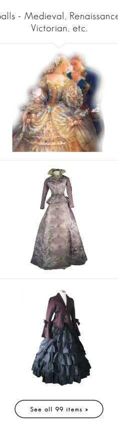 """""""Balls - Medieval, Renaissance, Victorian, etc."""" by jennh20 ❤ liked on Polyvore featuring couples, tube people, costumes, dresses, victorian, costume, gown, steampunk, ladies halloween costumes and womens victorian costumes"""