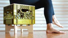 Combo Colab is raising funds for XTOOL: a crate-ful, stackable, storage, stool on Kickstarter! Made with a wooden top and legs this versatile milk crate stool will store anything you'd like indoors and outdoors. Milk Crate Chairs, Milk Crate Furniture, Crate Stools, Recycled Furniture, Diy Furniture, Milk Crate Storage, Storage Stool, Plastic Milk Crates, Grades