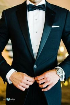 The tuxedo trademark is the satin lapel or satin details.