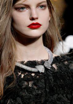 red red lip, clean eye @Nina Ricci