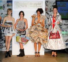 Samantha Pleet, Bahar Shahpar, and More Design 'Little Newspaper Dress' for Charity (Photos) Paper Clothes, Paper Dresses, Recycled Dress, Recycled Cans, Recycled Clothing, Paper Fashion, Fashion Art, Fashion Ideas, Fashion Inspiration