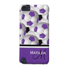 Monogram Purple Black Soccer Ball Pattern iPod Touch (5th Generation) Cover