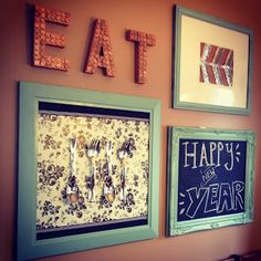 Dining Room gallery wall - love idea to have chalk board framed in the mix to write happy occassion.