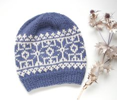 Fair Isle Hand Knit Hat, Nordic Alpaca Adult Beanie, Snowflake Winter Ski Cap, Ready To Ship Fair Isle Knitting, Hand Knitting, Knitting Patterns, Hat Patterns, Knit Mittens, Knitted Hats, Norwegian Knitting, Aran Weight Yarn, Fair Isle Pattern