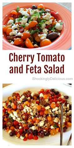 Cherry Tomato and Israeli Feta Salad is a perfect marriage of summer-ripe cherry tomatoes, zingy Israeli feta cheese and salty olives. Mint is the wild card, but don't leave it out. You could make a meal of this when tomatoes are in season! Caterer's recipe on ShockinglyDelicious.com  #shockinglydelicious #tomatosalad #summersalad #israelifeta