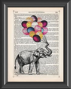 elephant and colourful balloons vintage by PicturePorridge on Etsy