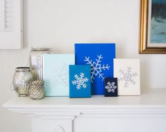 SNOWFLAKE Embossed Silver and Gloss Blue Enamel on Canvas Handmade in St. Louis, MO  Let It Snow, Let It Snow, Let It Snow! The lights are up, the