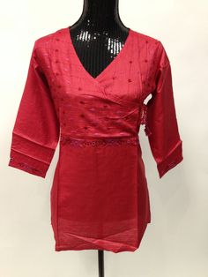 Tussar Silk Kurti with Hand Embroidery- Maroon