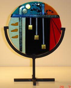 1 Osaka by Sheila Callander Fused Glass Plates, Fused Glass Art, Glass Ceramic, Stained Glass, Glass Fusion Ideas, Glass Fusing Projects, Slumped Glass, Glass Wall Art, My Glass