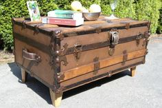 vintage trunks for coffee tables Vintage Trunks, Vintage Suitcases, Trunk Redo, Large Photos, Hope Chest, Storage Chest, Antiques, Coffee Tables, Living Room