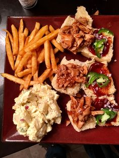 Barbecue chicken sliders and sides. #food