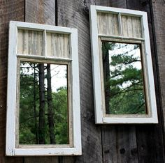 Repurposed windows transformed into mirrors for an exterior wall, fence or indoor rustic decor element.