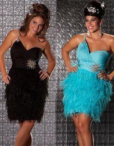 b721642679f MacDuggal Fabulouss Short Plus Size Prom Dress with Feathers 6304F