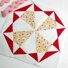 Farmer's Wife 1930s quilt block no. 38 - Golda - paper-pieced.  I took the papers off before joining the sections - it helped with seam/point matching.