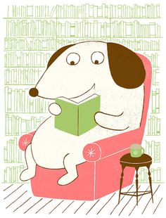 Dog Reading Screenprint by doctorpizzoli on Etsy