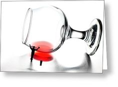 Tiny People Big World Greeting Cards - Cleaning wine cup little people on food Greeting Card by Paul Ge