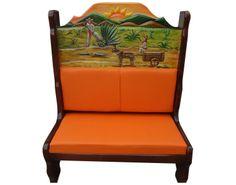 Booth con Agaveros.  Descripción: Diseño: Agaveros en el amanecer Color: Diseño Asiento: Vinil naranja  2 Personas