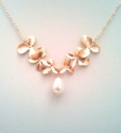 Rose Gold Orchid Necklace Flower Necklace Wedding by LaLaCrystal
