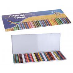 50 kleur potloden. 50 kleurpotloden in verschillende kleuren. De potloden worden geleverd in een metalen box.