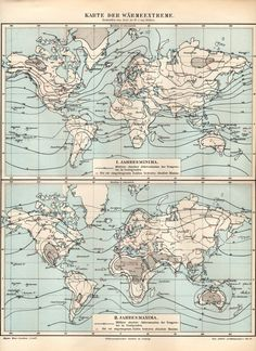 1898 Weather Map Antique Map Weather Forecast by Craftissimo