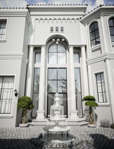 Mediterranean Arabic House Design - Home Exterior in Riyadh, Saudi Arabia - CAS Classic House Exterior, Classic House Design, Modern House Design, House Outside Design, House Front Design, Villa Design, Facade Design, Architecture Design, Riyadh