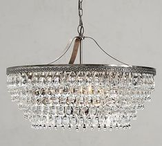 Pottery Barn Clarissa Crystal Drop Round Chandelier Light Fixture NEW Large for sale online Wire Chandelier, Rectangular Chandelier, Outdoor Chandelier, Large Chandeliers, Crystal Chandeliers, Crystal Drop, Crystal Beads, Crystal Sconce, Crystal Pendant