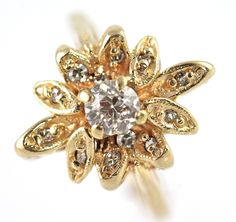 Vintage 14k Yellow Gold & 1/2 Carat Diamond Ring Size 5 – Yourgreatfinds